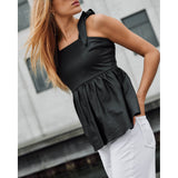Depeche leather wear Beautiful summer leather top Tops 099 Black (Nero)