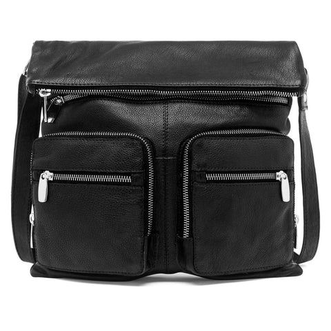 Boxy crossover bag in mixed leather quality / 14332