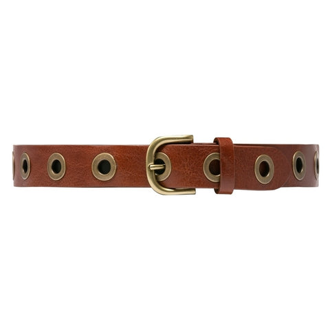 Narrow leather belt with large studs / 14452