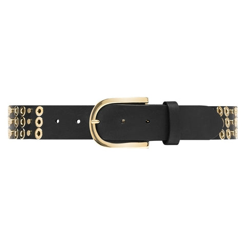 Narrow leather belt with round buckle / 14676