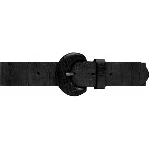 Narrow leather belt with decorative buckle / 14458