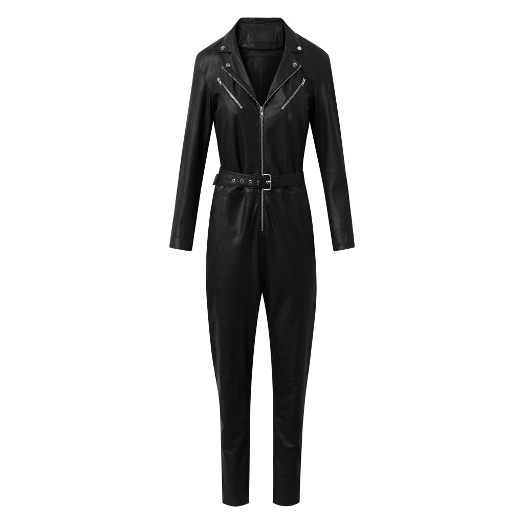 Depeche leather wear Jumpsuit in soft leather Pants 099 Black (Nero)