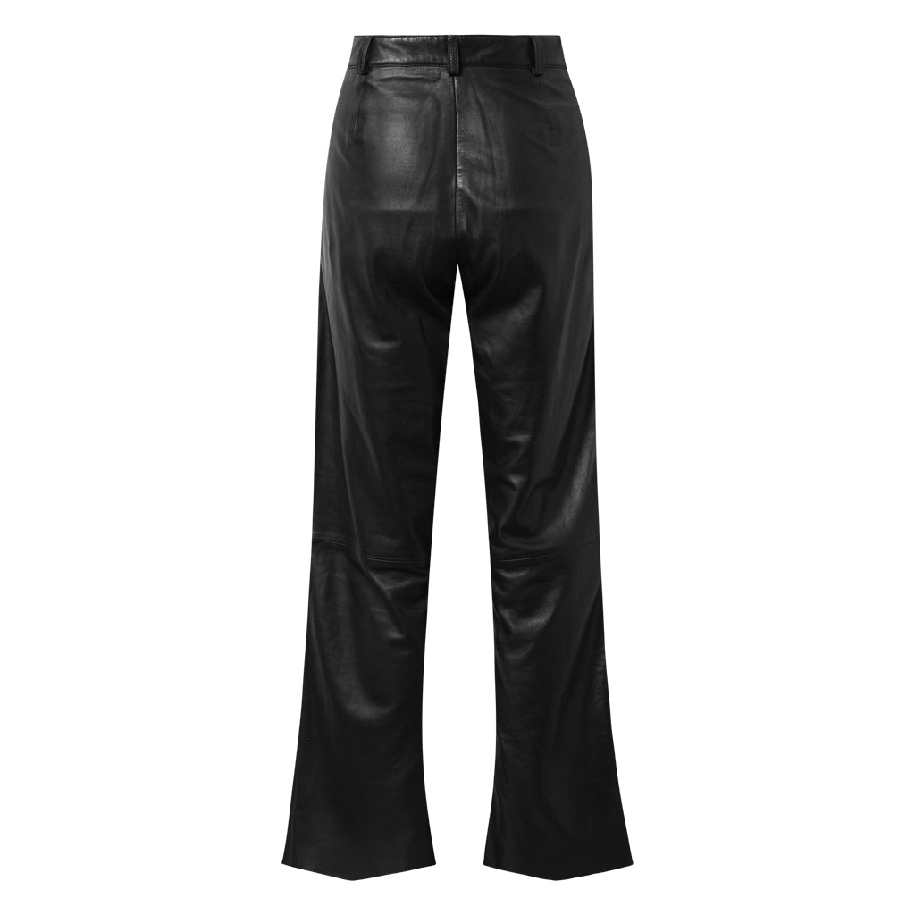 Depeche leather wear Leather pants with wide and straight legs Pants 099 Black (Nero)