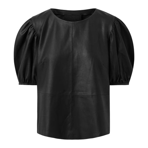 Leather top with balloon sleeves / 50220