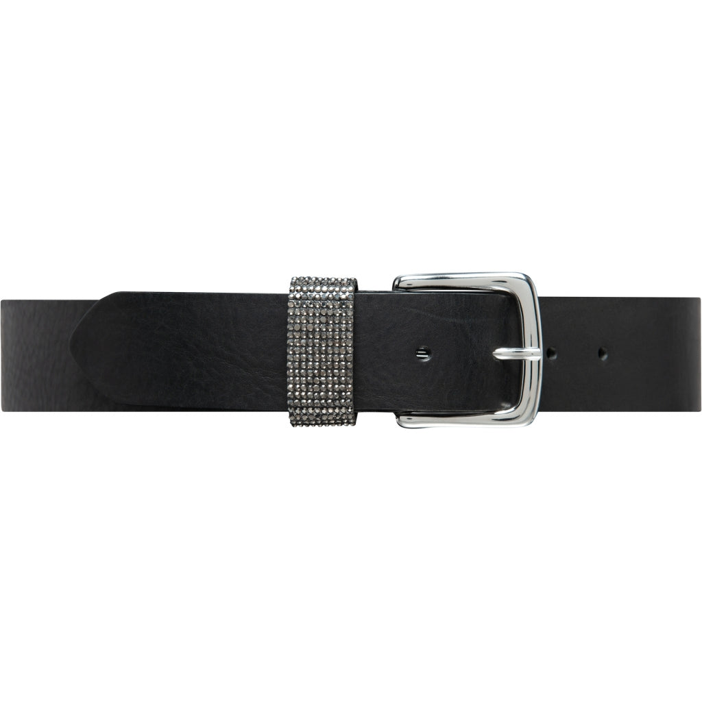 DEPECHE Leatherbelt decorated with rhinestone Belts 099 Black (Nero)