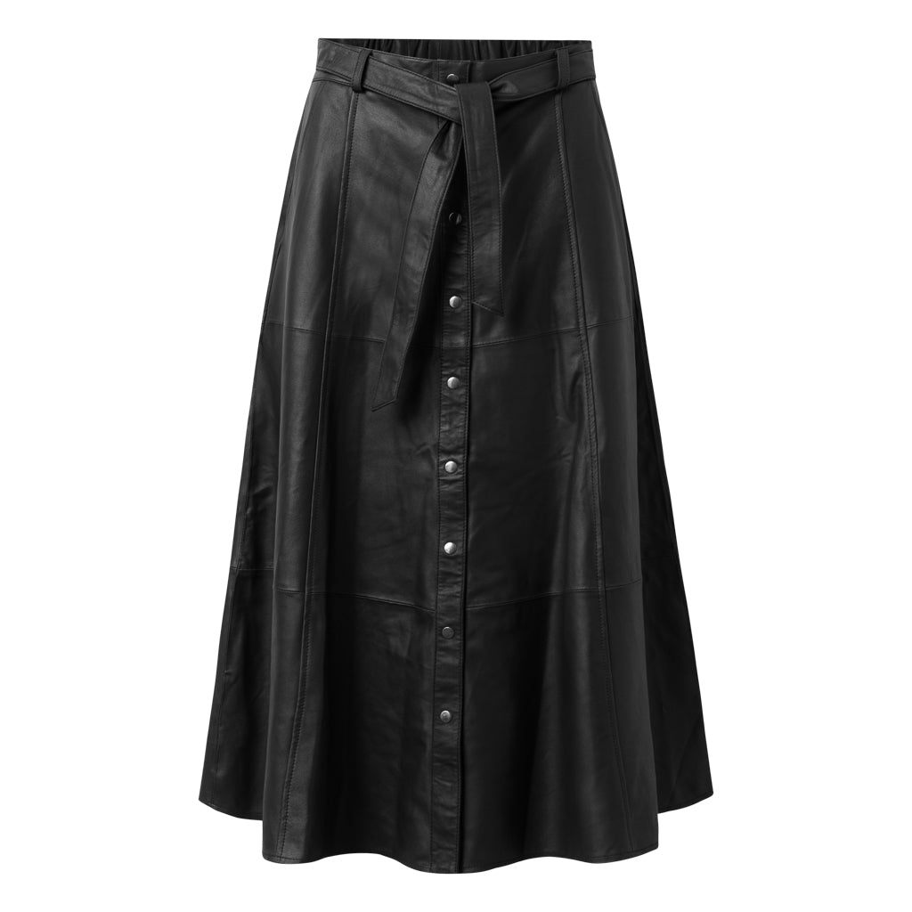 Depeche leather wear Long leather skirt decorated with buttons Skirts 099 Black (Nero)