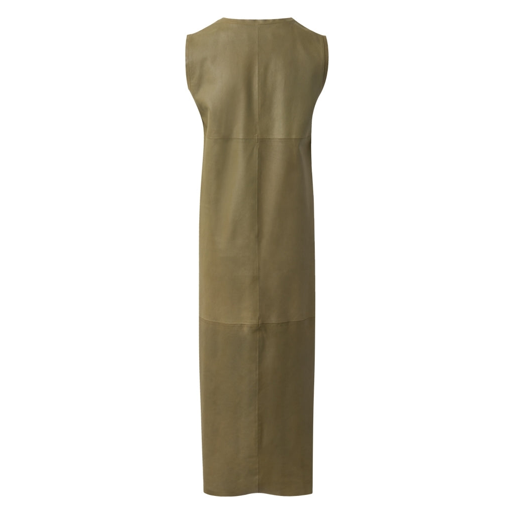 Depeche leather wear Maxi leather dress Dresses 051 Olive
