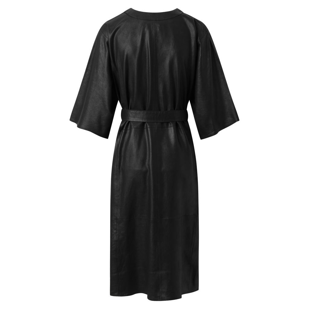Depeche leather wear Oversized leather dress with waistbelt Dresses 099 Black (Nero)