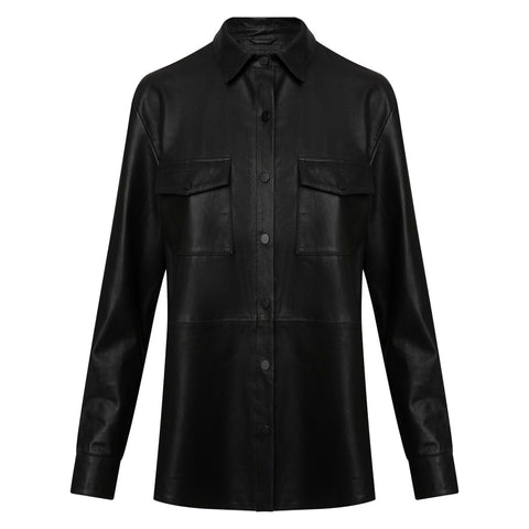 Leather shirt with pushbuttons / 50246