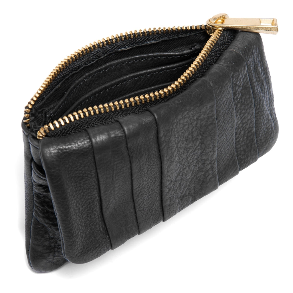 DEPECHE Small purse decorated with folders in the leather Purse 099 Black (Nero)