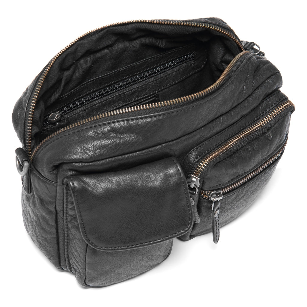 DEPECHE Washed leather crossbody bag with lots of pockets Cross over 099 Black (Nero)