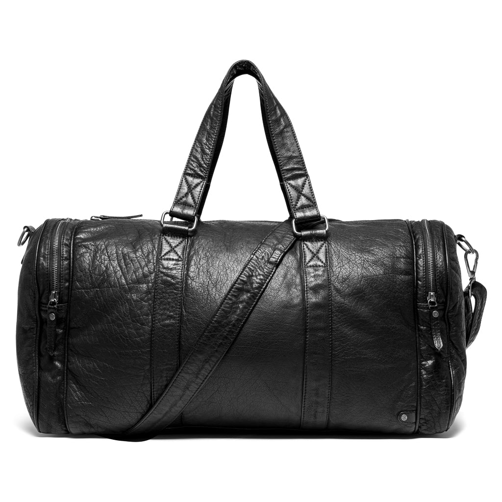 DEPECHE Weekend bag in washed leather Weekend Bag 099 Black (Nero)