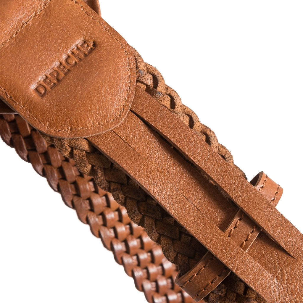 DEPECHE Wide braided leather belt Belts 014 Cognac