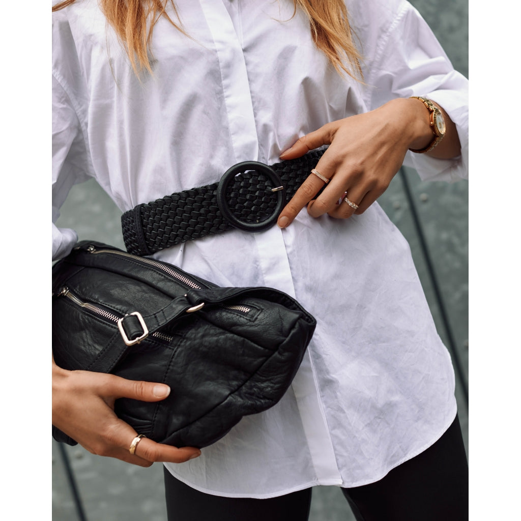 DEPECHE Wide braided leather belt Belts 099 Black (Nero)
