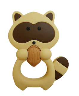 CARAMEL RACCOON SILICONE TEETHING TOY