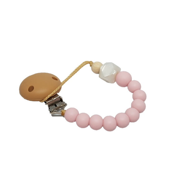 CLASSIC SILICONE SOOTHER HOLDER - PINK & PEARL