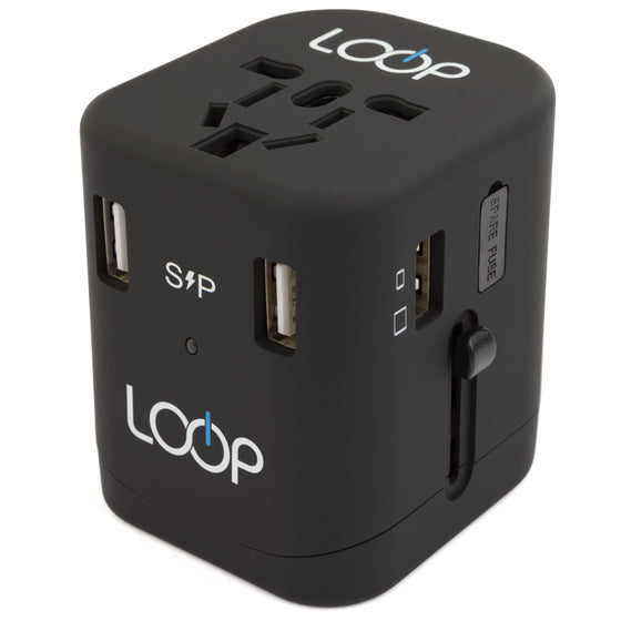 Travel Smart 4. Worldwide Travel Adapter Charger, 4 USB Charging Ports