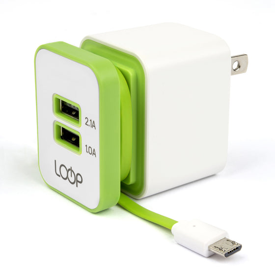 Travel Charger with Integrated Micro USB Cable, Dual Ports & Foldable Plug