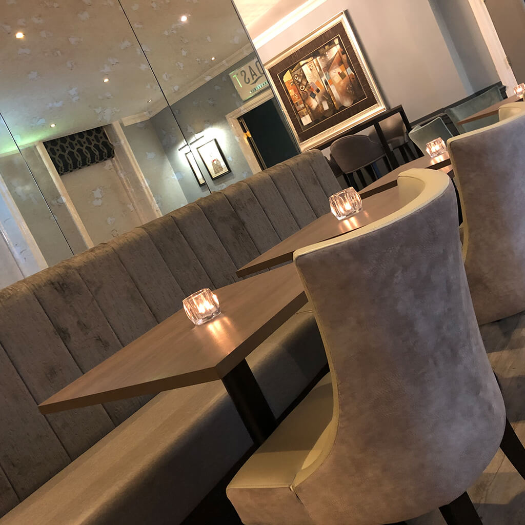 Beige straight fixed seating for restaurants