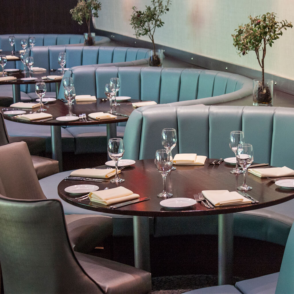Green fluted booth fixed seating for restaurants