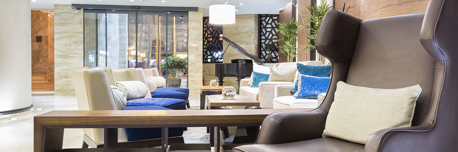Hotel Lobby Designed in Blue and Neutral