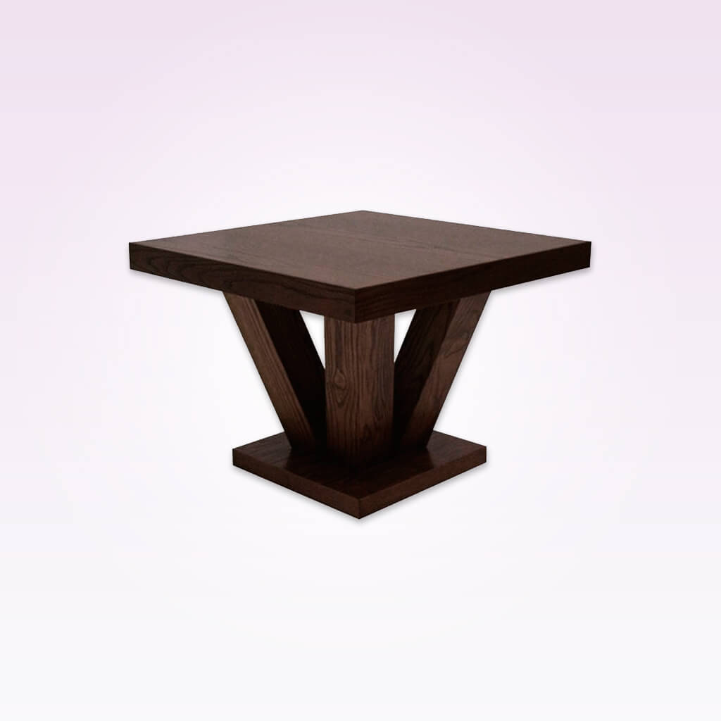 Achina wooden dark brown bar table with chunky underframe. 1100
