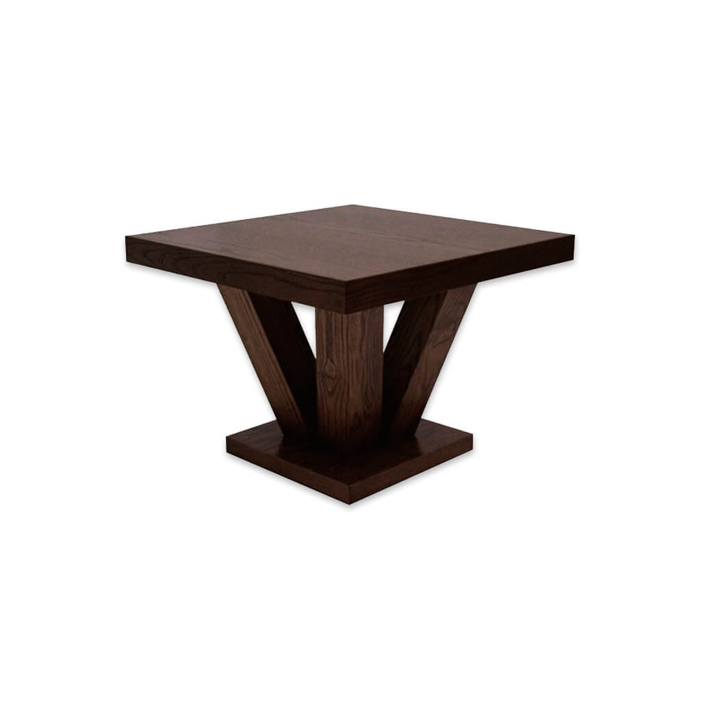 Achina wooden dark brown bar table with chunky underframe. 1100 - Designers Image