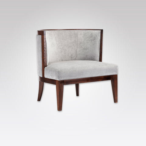 Adele Upholstered Light Grey Fabric Lounge Chair with Horse Shoe Back and Show Wood Contouring PL01 LC1