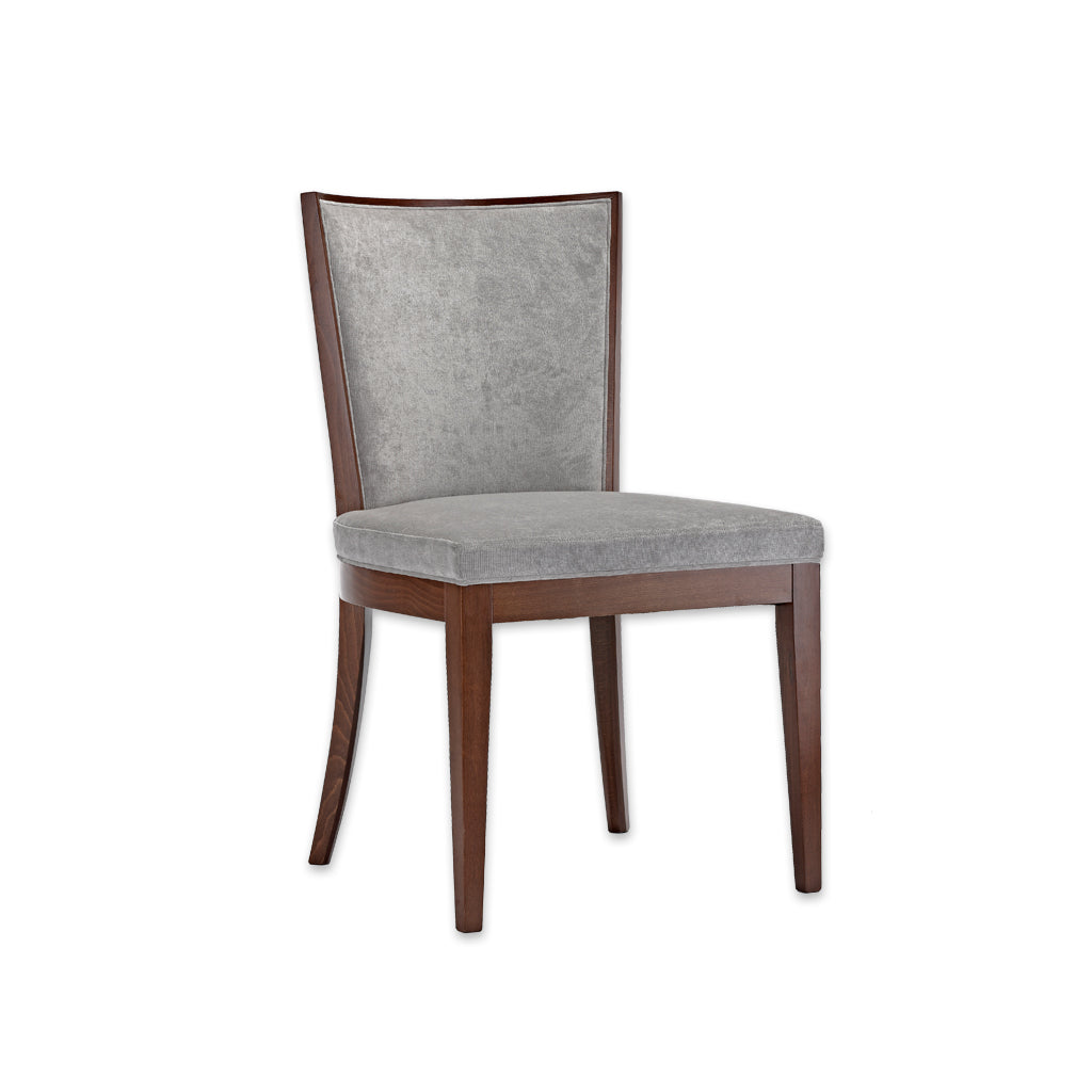 Adele Grey Cushioned Dining Chair with Brown Show Wood  SE01 RC1 - Designers Image