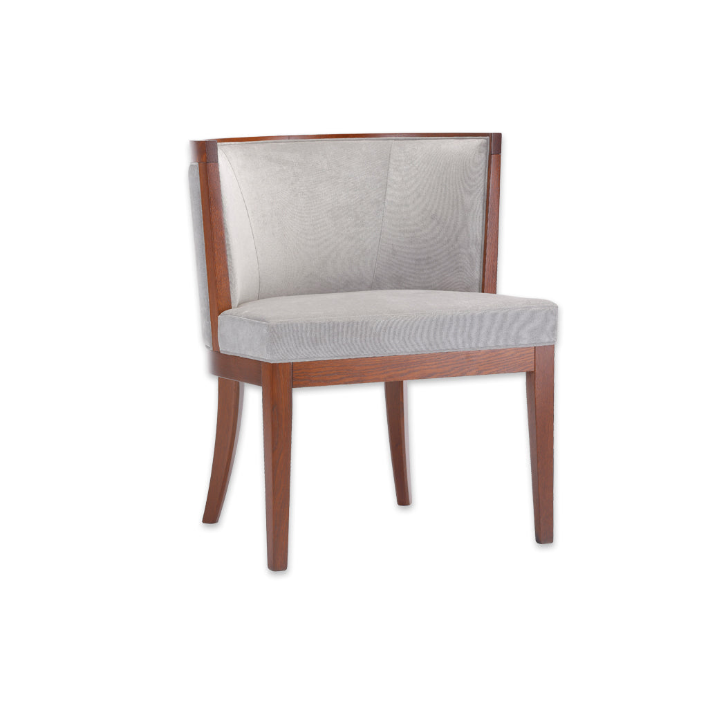 Adele Grey Tub Chair With Brown Show Wood Legs And Curved Back PO01 TC1 - Designers Image