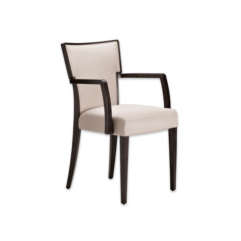 Alaska Cream Upholstered Armchair Hammer Back Design with Show Wood Edging and Arms 4001 AC1