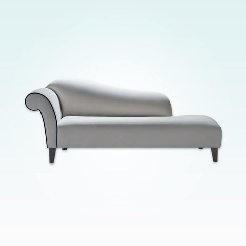 Albi glamourous grey chaise longue with scroll arm, curved shape and contrast piping detail 14003 CL1