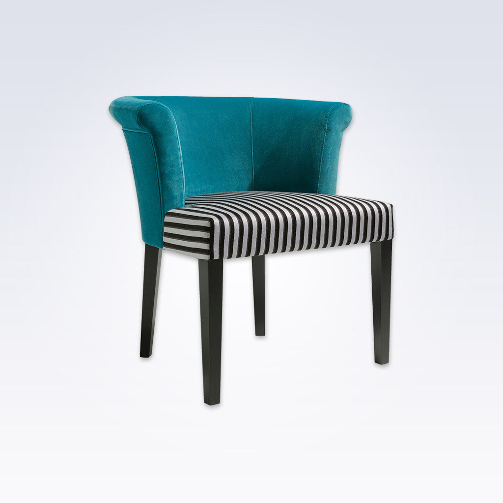 Alma Striped Tub Chair With Turquoise Curved Back 2022 TC1