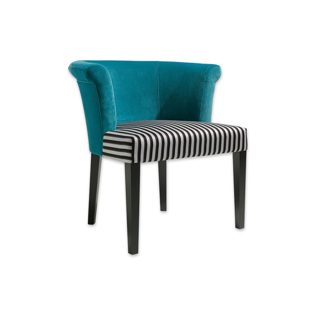 Perth Striped Tub Chair with Turquoise Curved Back 2022 TC1 - Designers Image