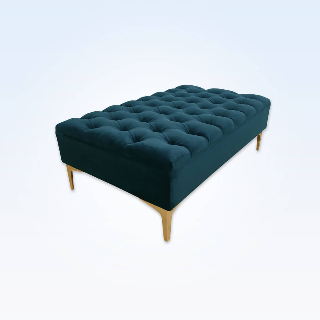 Anastasia rectangular dark green ottoman with padded cushion featuring ornate deep buttoning 10000 OT1