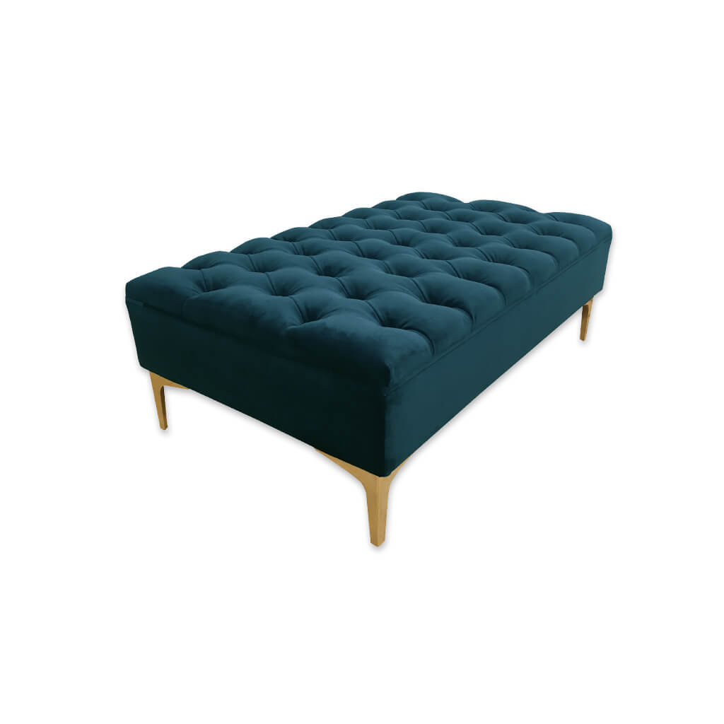 Anastasia rectangular dark green ottoman with padded cushion featuring ornate deep buttoning 10000 OT1 - Designers Image