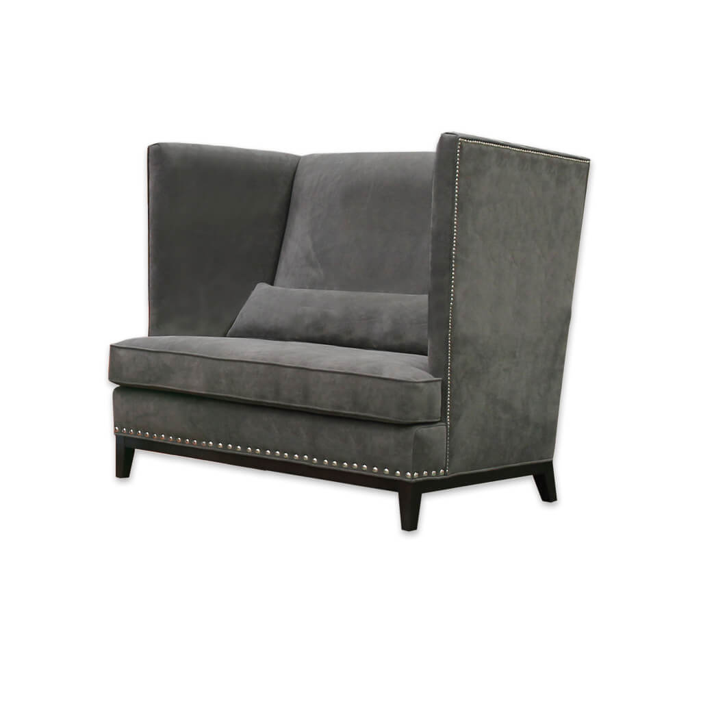 Aneto dark grey fabric accent chair with a show wood plinth and decorative studding 7009 AT1 - Designers Image