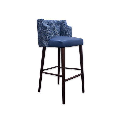 Ariel blue bar stool with upholstered back and leather seat pad 6057 BR1