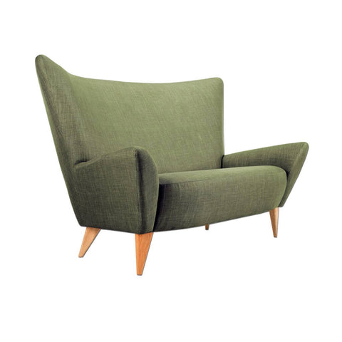 Arina green accent chair with winged back and tapered wooden legs 7008 AT1
