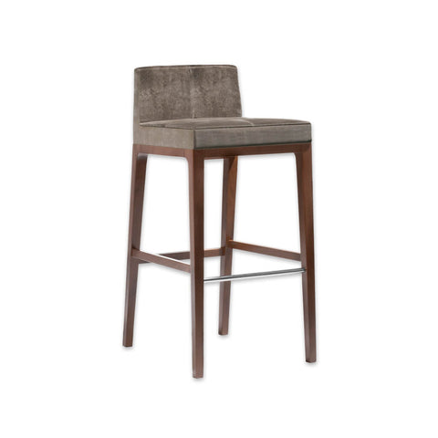 Arisa brown velvet bar stool with timber legs and a metal kick plate SG01 BR1