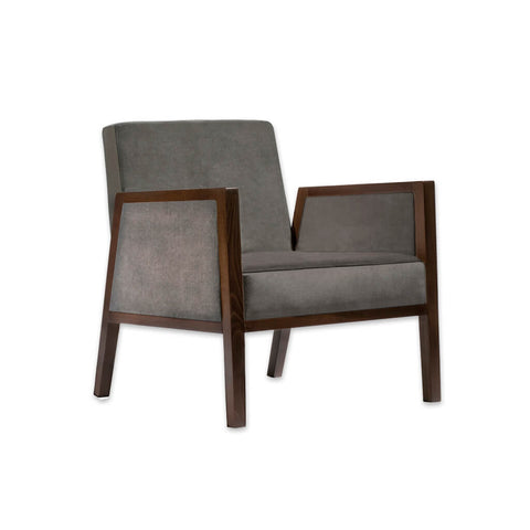 Arisa Upholstered Dark Brown Lounge Chair with Show Wood Angular Arms PL02 LC1