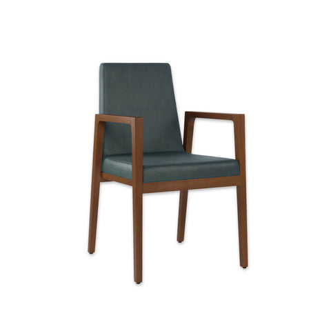 Arisa Turquoise Armchair with Angular Show Wood Frame PO01 AC1