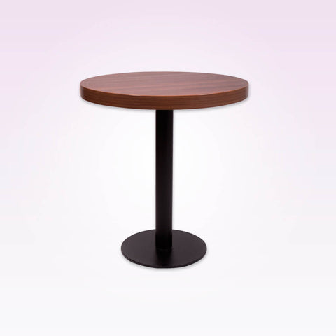 Astrid brown round dining table with wooden top and metal pedestal base 1102