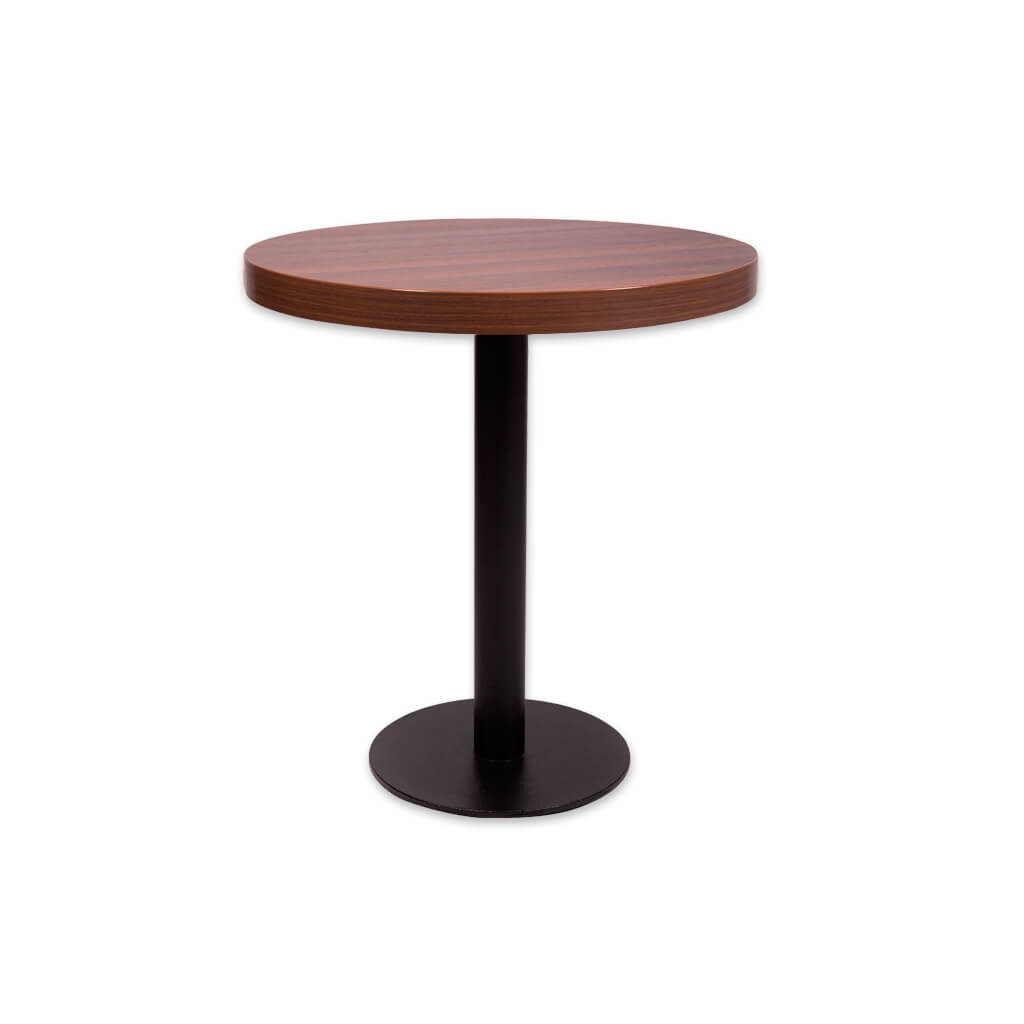 Astrid brown high top table with metal pedestal and round base plate. 1102 - Designers Image