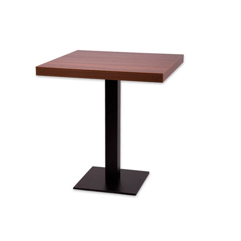 Astrid bar top dining table with square wooden top and metal pedestal. 1102