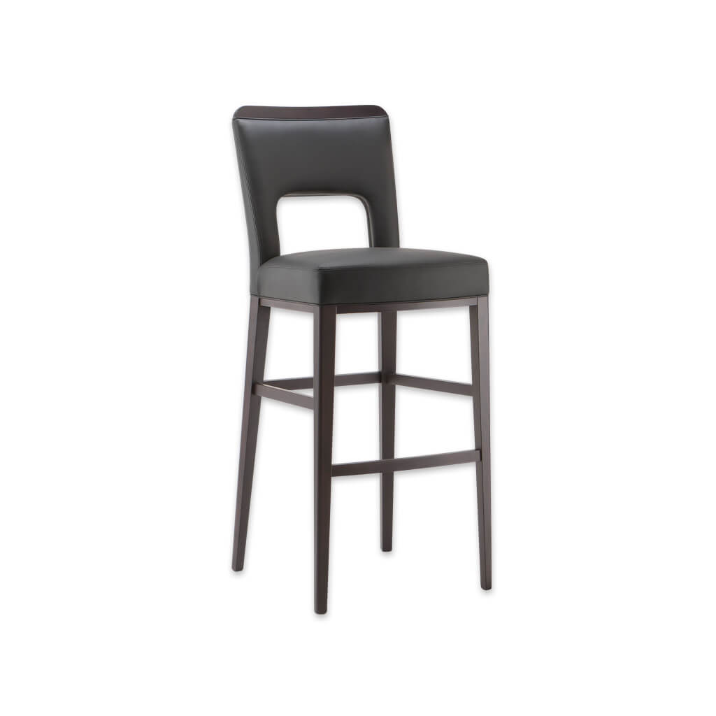 Austin brown bar stools with leather covered seat and back with cut out detail 6035 BR1 - Designers Image