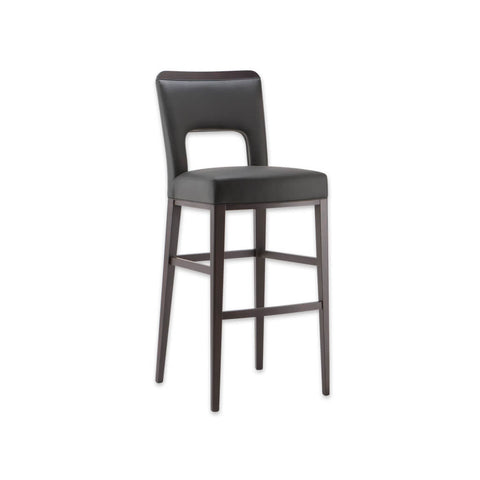 Austin brown bar stools with leather covered seat and back with cut out detail 6035 BR1