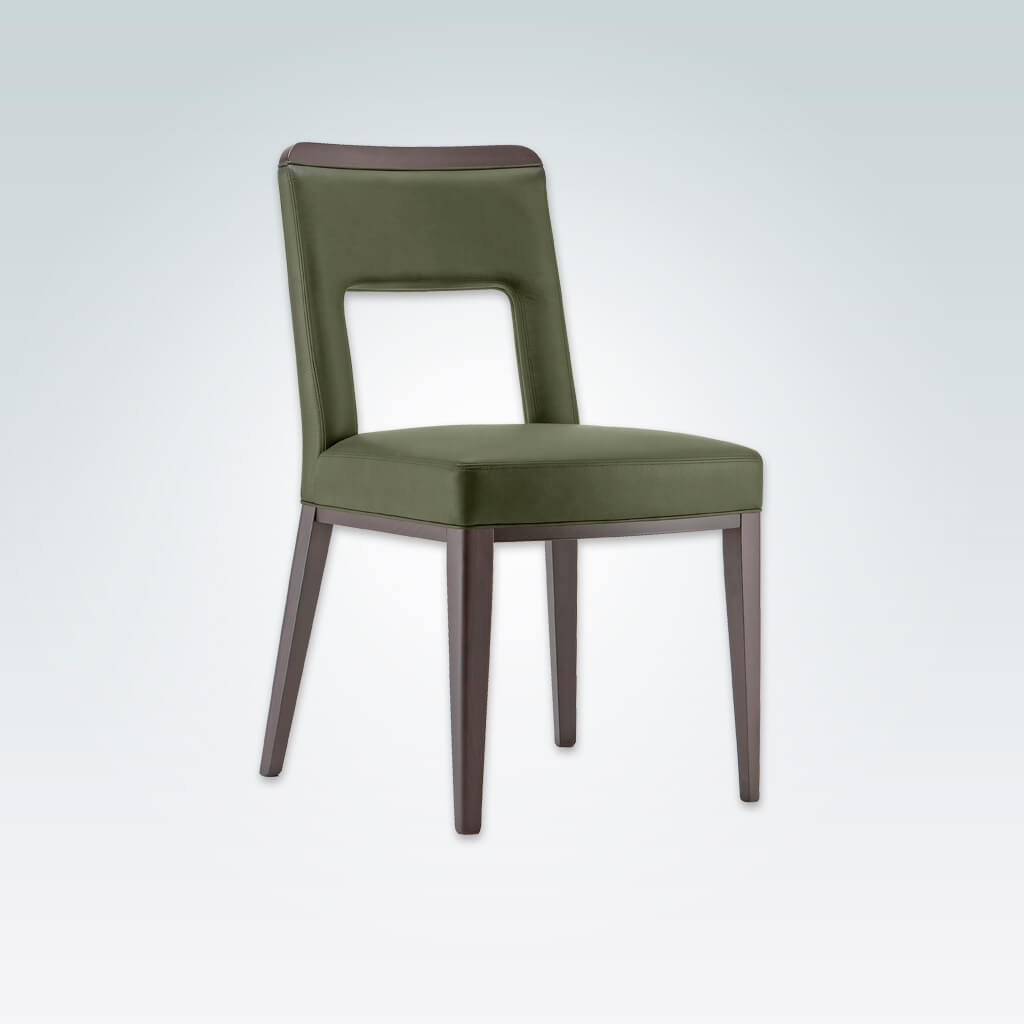 Austin Retro Fully Upholstered Green Leather Dining Chair with Cut out Back Detail 3059 RC1