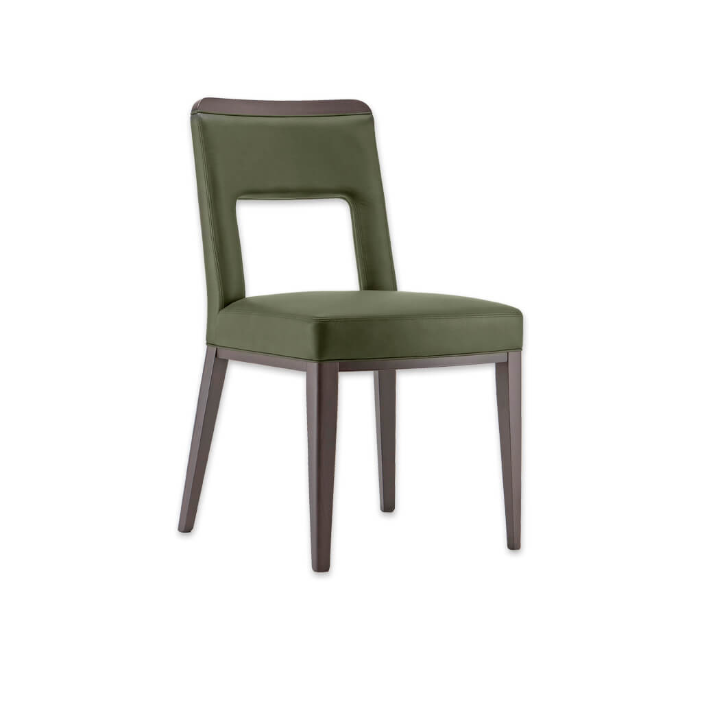 Austin Retro Fully Upholstered Green Leather Dining Chair with Cut out Back Detail 3059 RC1 - Designers Image