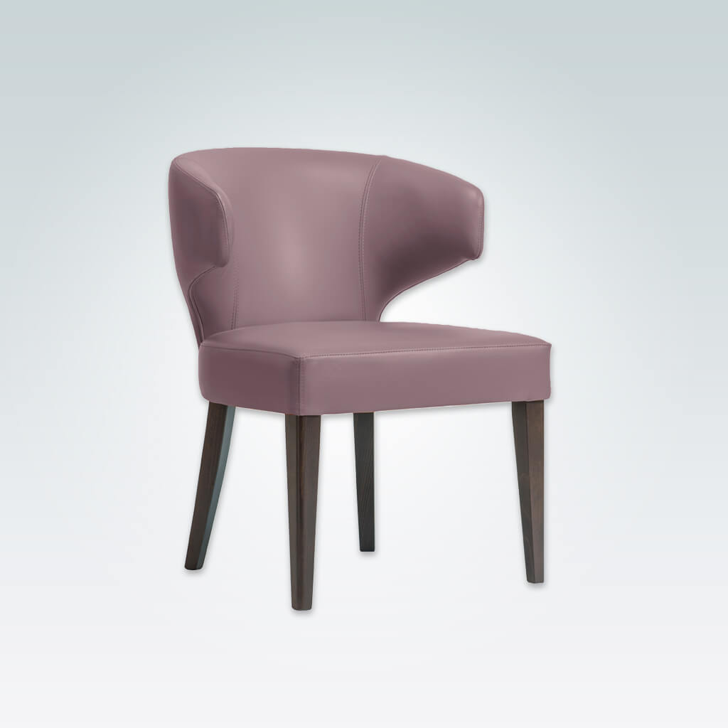 Barbara Pink Dining Chair with Padded Seat and Tapered Wooden Legs PO01 RC1